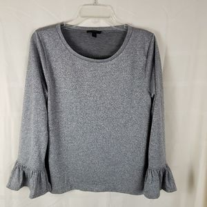 J Crew metallic bell sleeve top